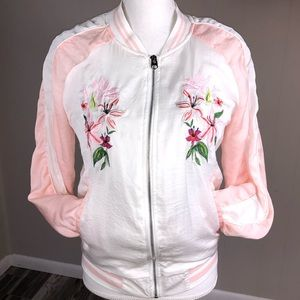LOVE TREE   silk embroidered bomber jacket